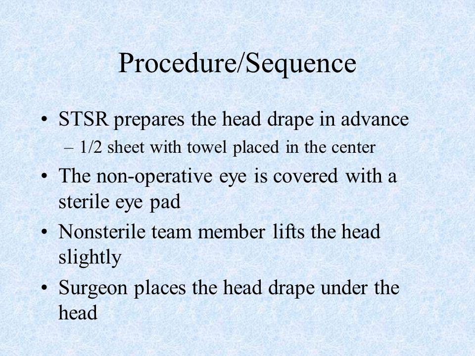 Procedure/Sequence STSR prepares the head drape in advance