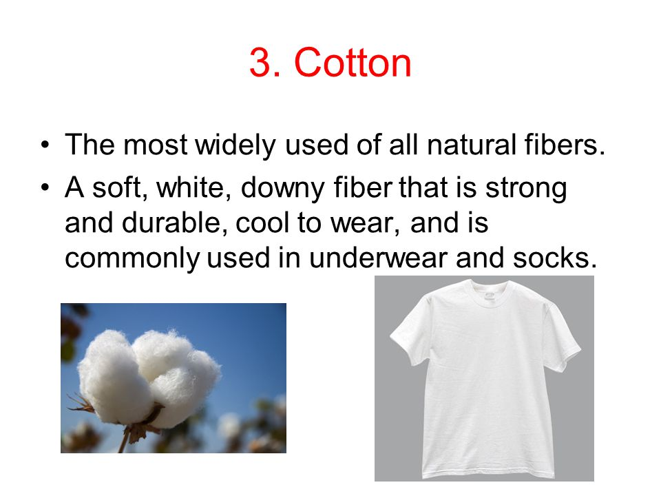 3. Cotton The most widely used of all natural fibers.
