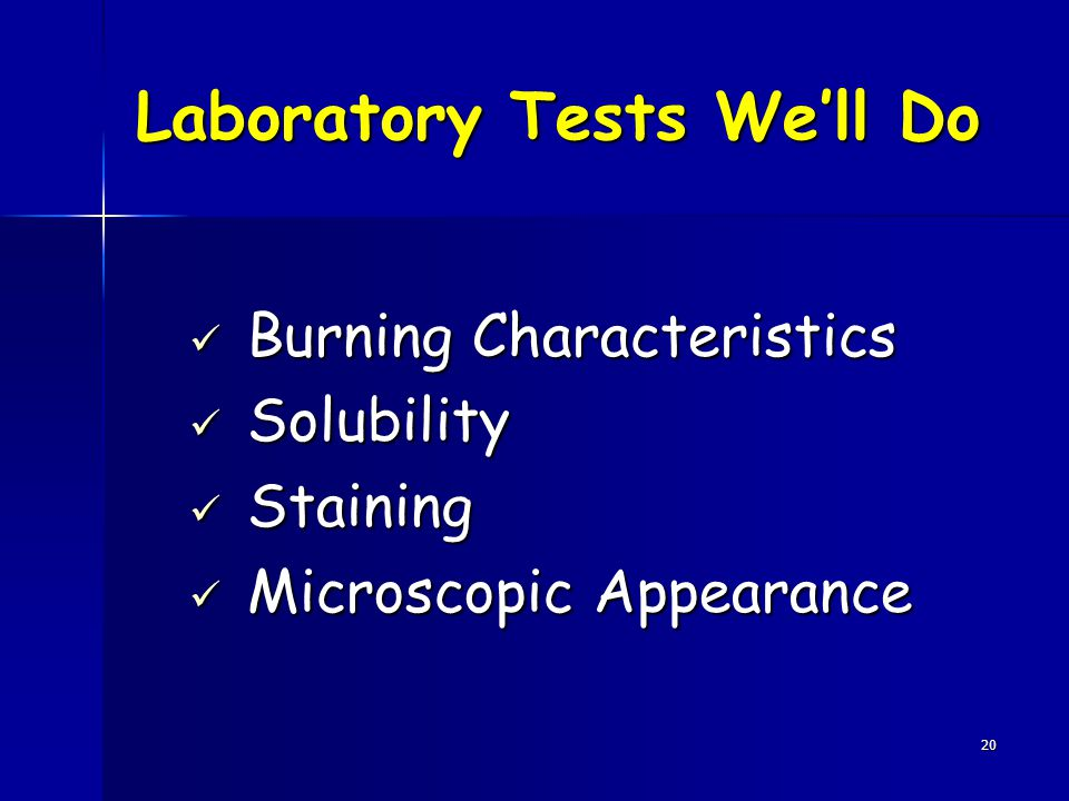 Laboratory Tests We'll Do