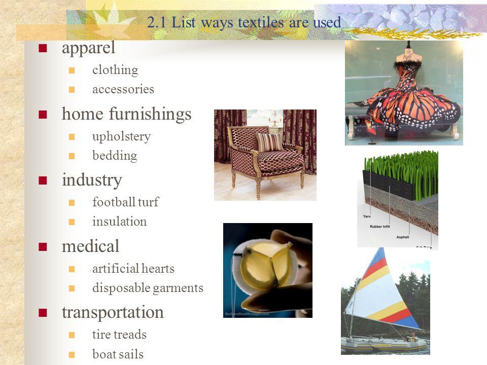2.1 List ways textiles are used