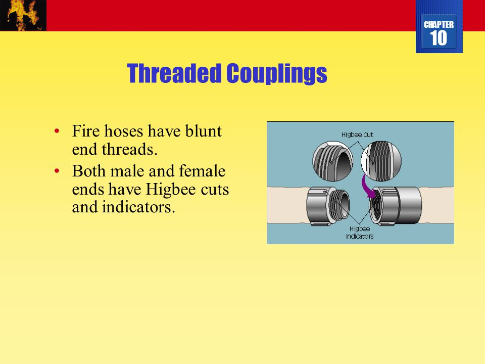 Threaded Couplings Fire hoses have blunt end threads.