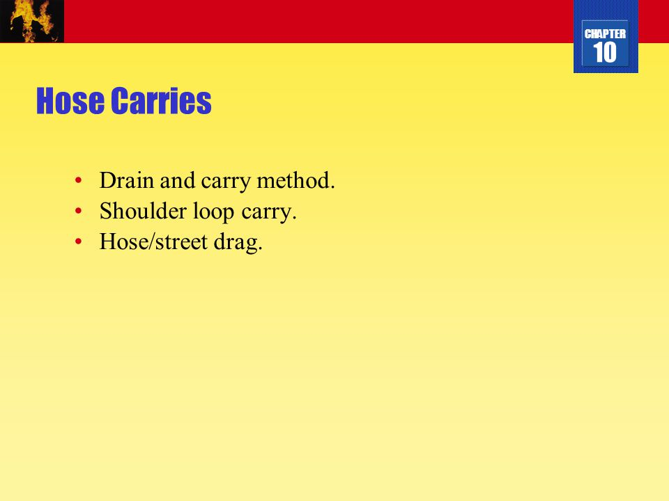 Hose Carries Drain and carry method. Shoulder loop carry.