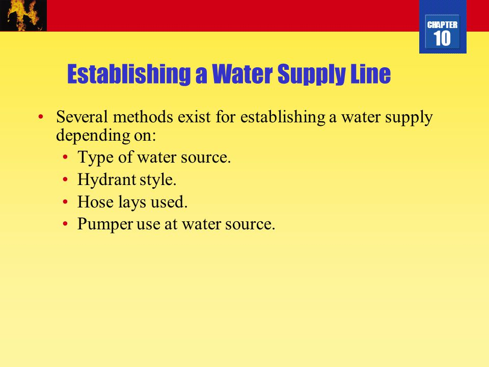 Establishing a Water Supply Line