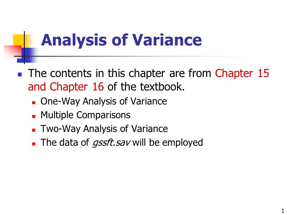 Analysis of Variance The contents in this chapter are from Chapter 15 and Chapter 16 of the textbook.