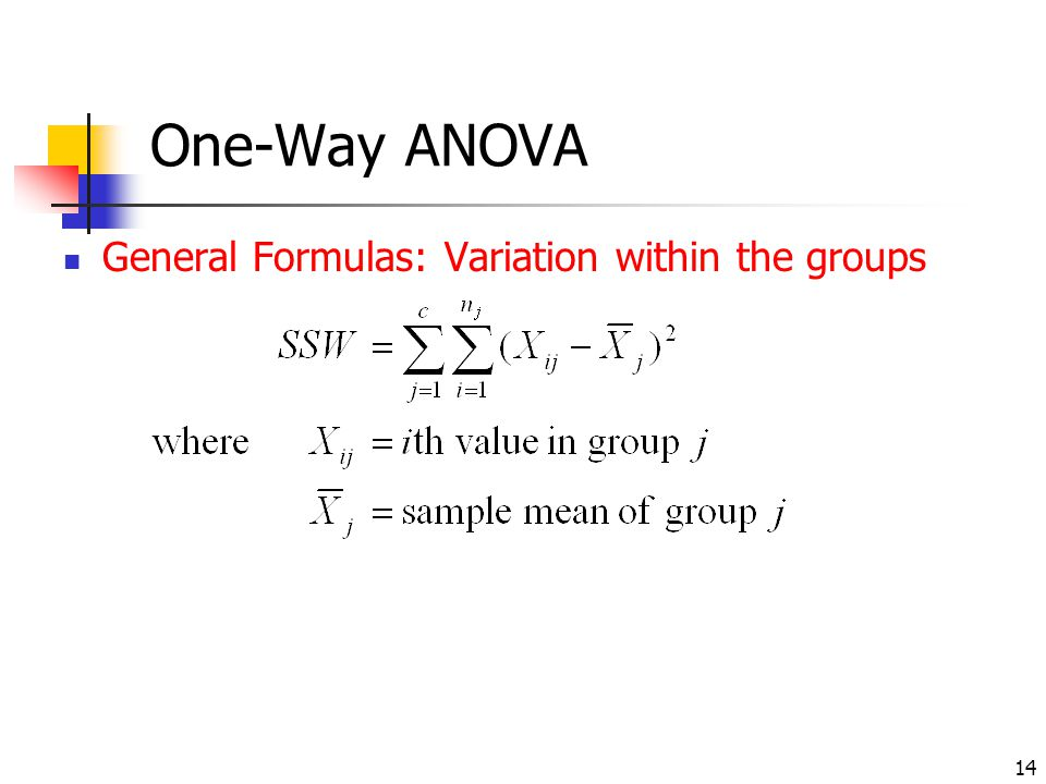 One-Way ANOVA General Formulas: Variation within the groups