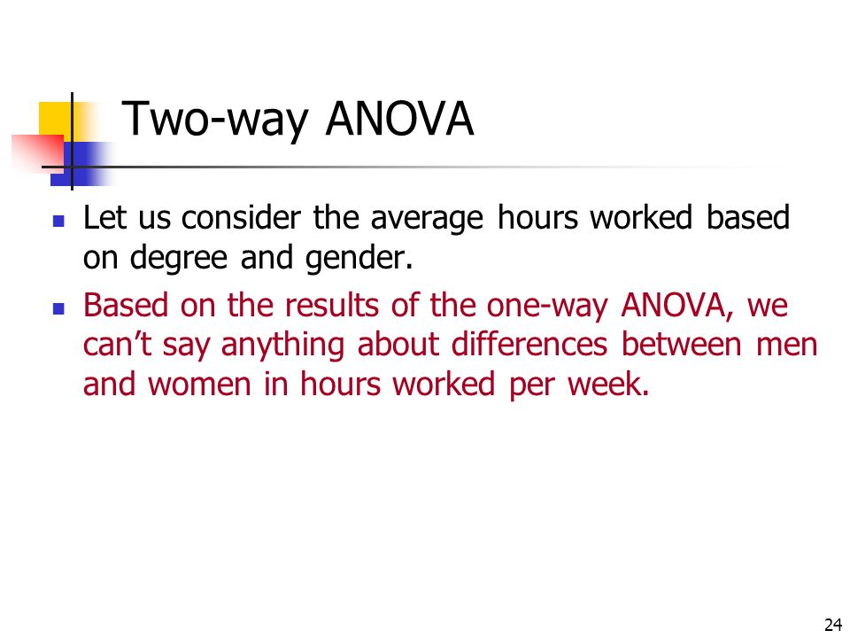 Two-way ANOVA Let us consider the average hours worked based on degree and gender.
