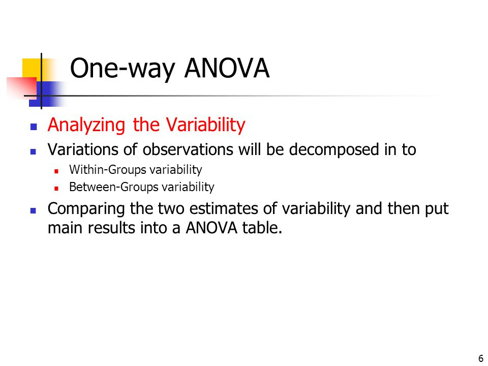 Analysis of variance the contents in this chapter are from for 1 way anova table
