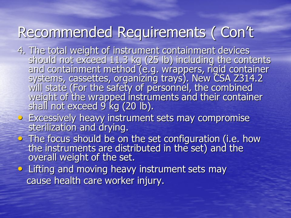 Recommended Requirements ( Con't