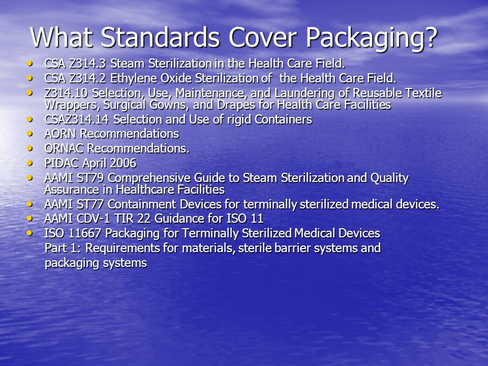 What Standards Cover Packaging