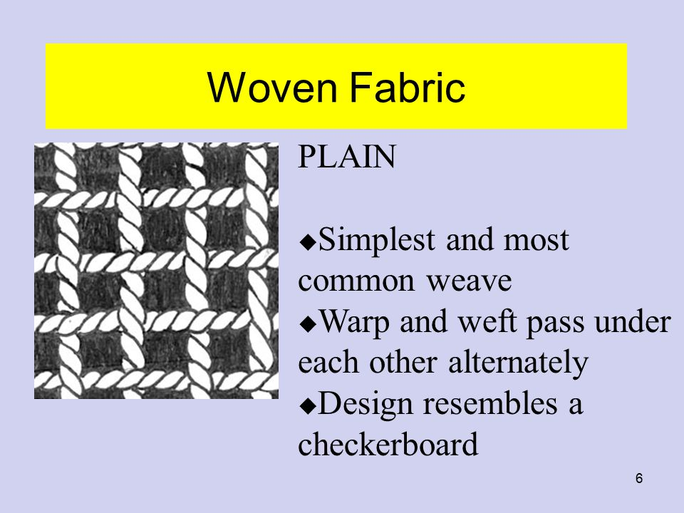 Woven Fabric PLAIN Simplest and most common weave