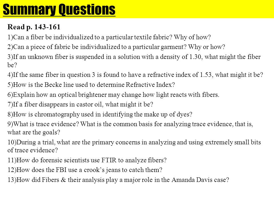 Summary Questions Read p. 143-161