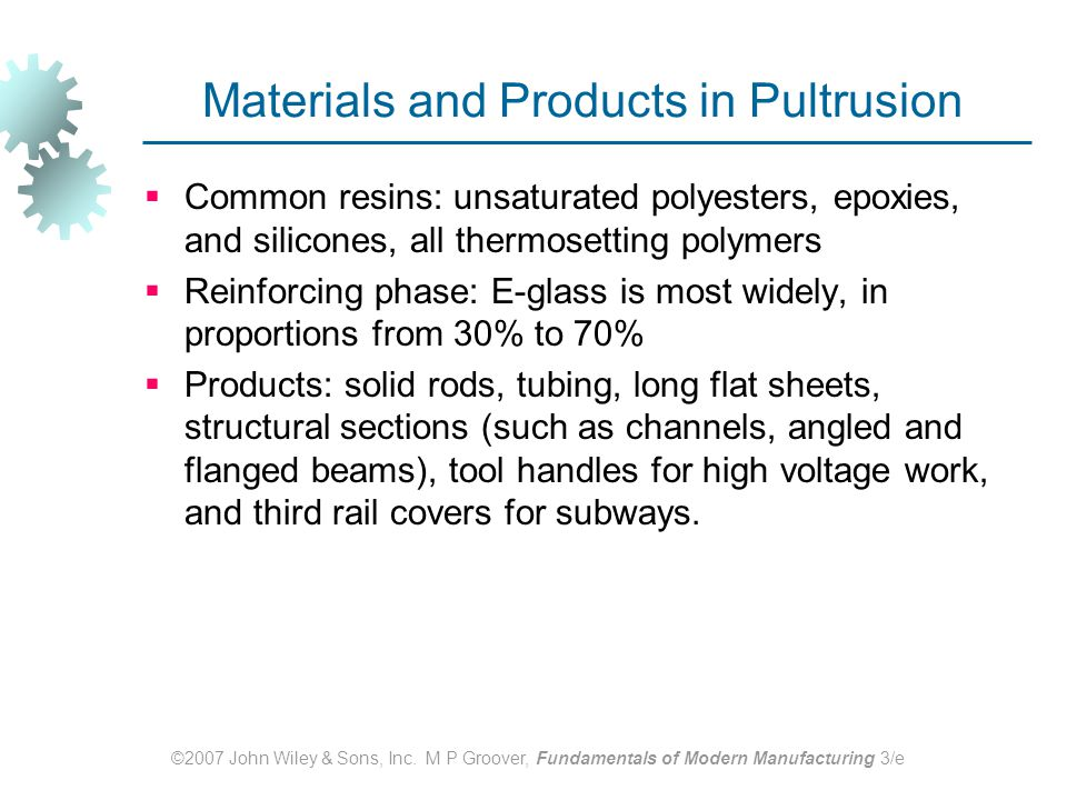 Materials and Products in Pultrusion