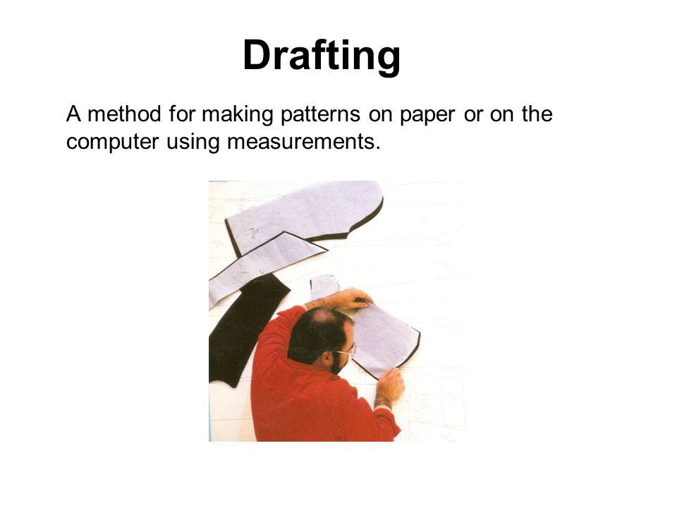 Drafting A method for making patterns on paper or on the computer using measurements.
