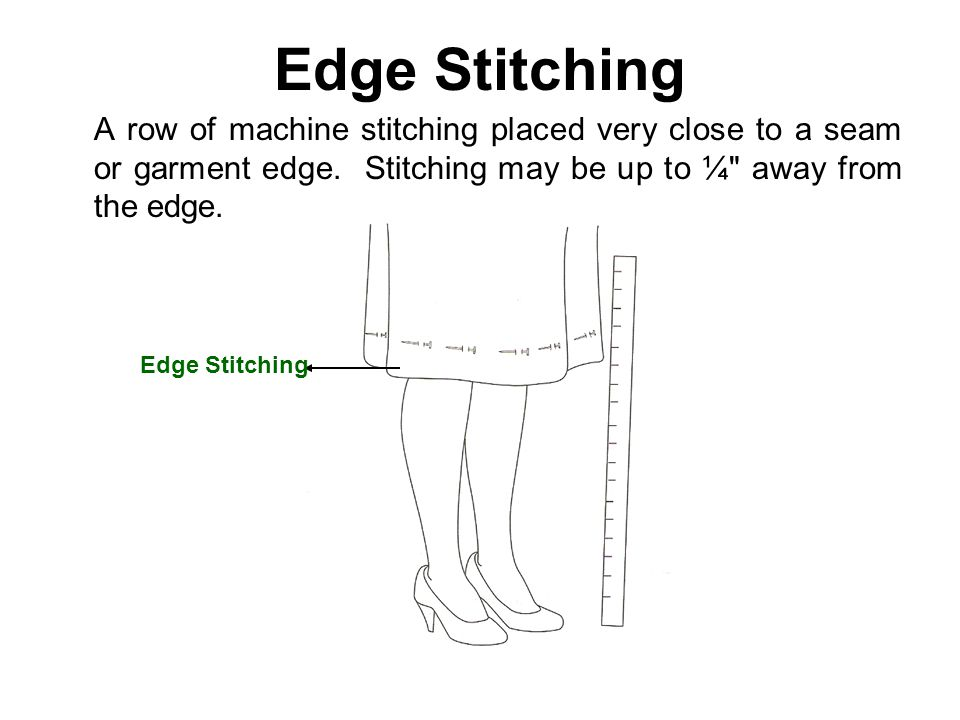 Edge Stitching A row of machine stitching placed very close to a seam or garment edge. Stitching may be up to ¼ away from the edge.