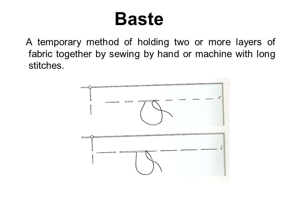 Baste A temporary method of holding two or more layers of fabric together by sewing by hand or machine with long stitches.