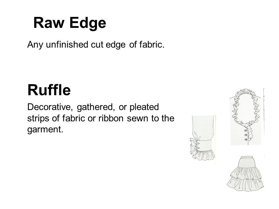 Raw Edge Any unfinished cut edge of fabric. Ruffle