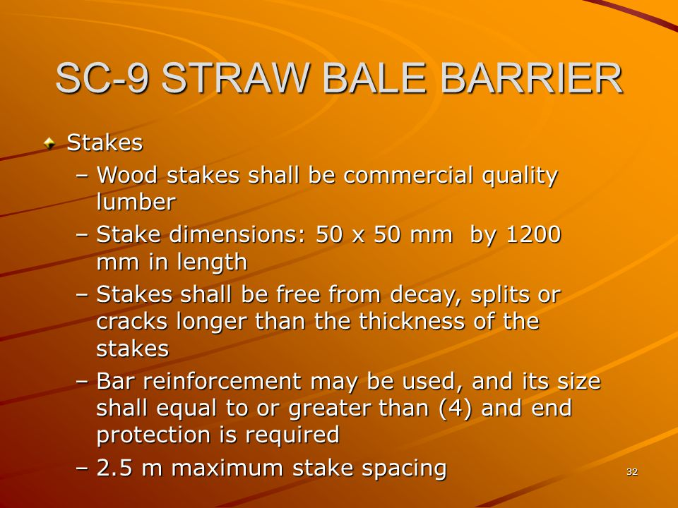 SC-9 STRAW BALE BARRIER Stakes