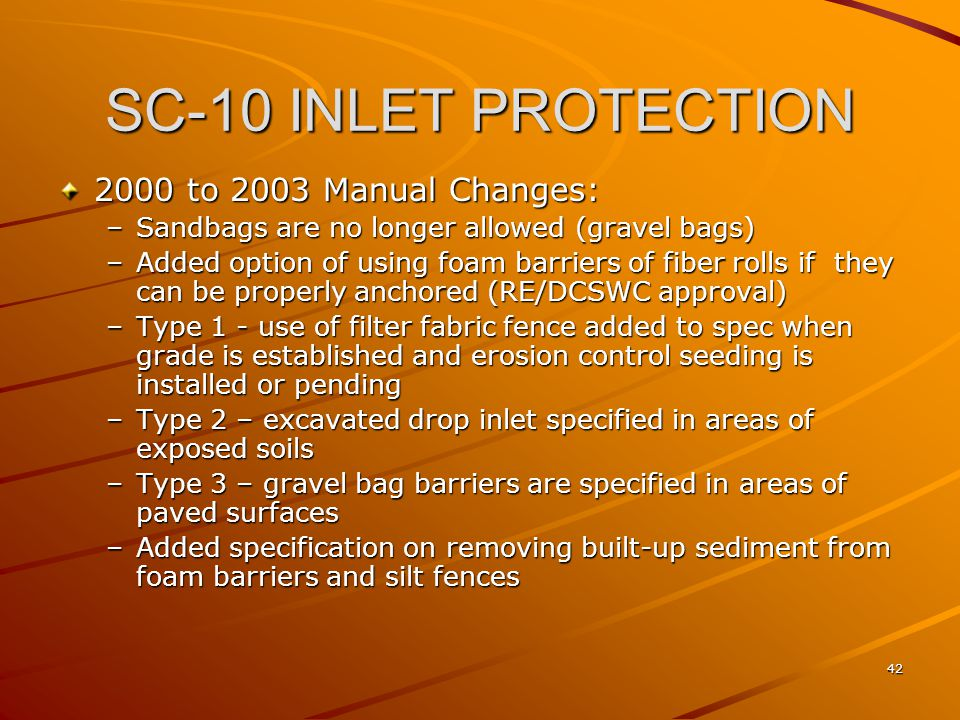 SC-10 INLET PROTECTION 2000 to 2003 Manual Changes: