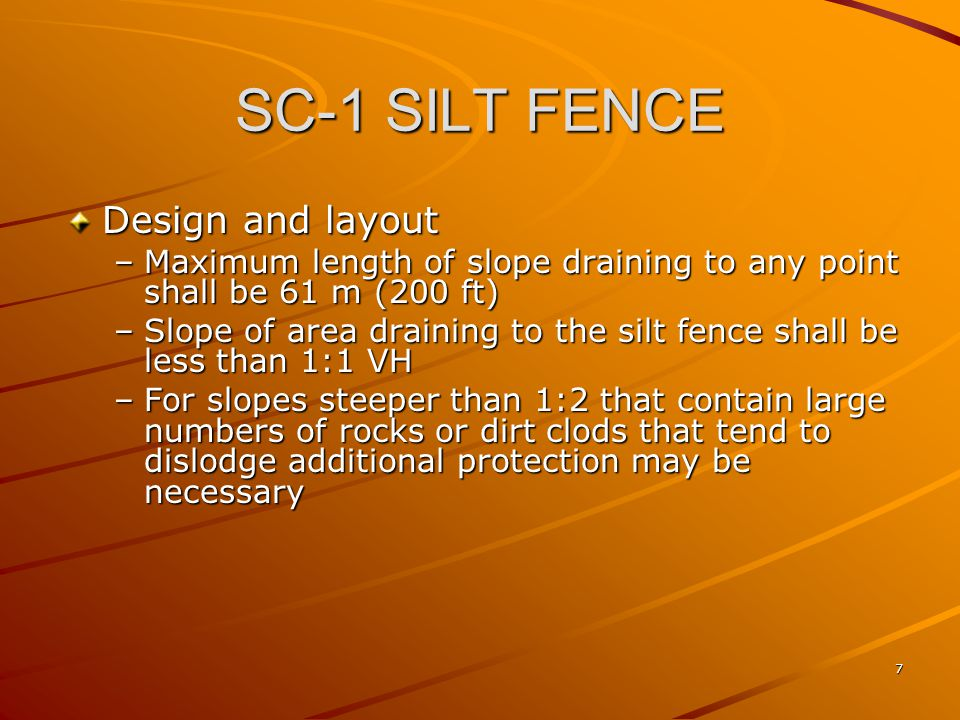SC-1 SILT FENCE Design and layout