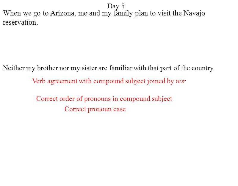 Day 5 When we go to Arizona, me and my family plan to visit the Navajo reservation.