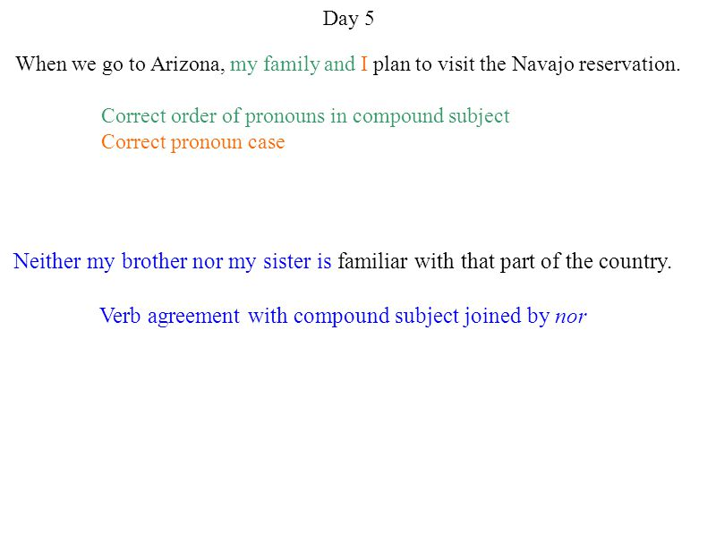Verb agreement with compound subject joined by nor