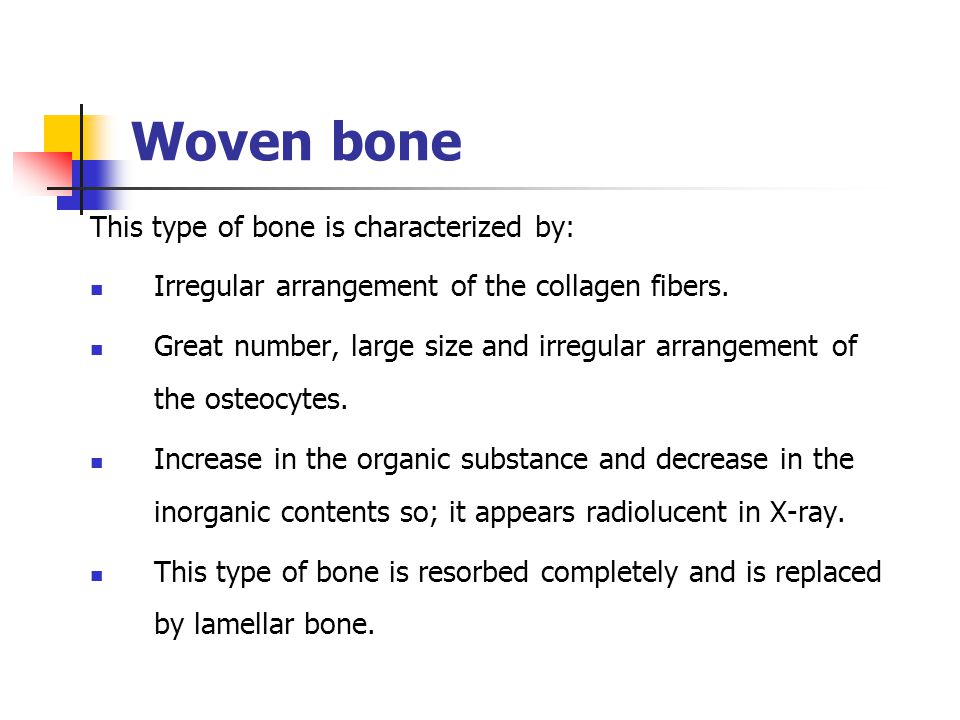 Woven bone This type of bone is characterized by: