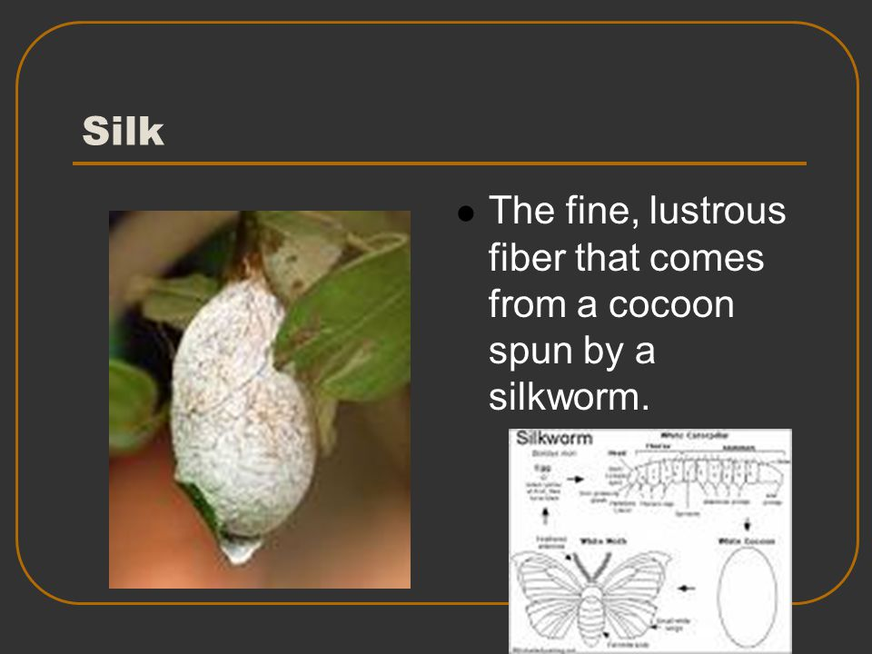Silk The fine, lustrous fiber that comes from a cocoon spun by a silkworm.