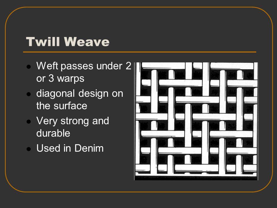 Twill Weave Weft passes under 2 or 3 warps
