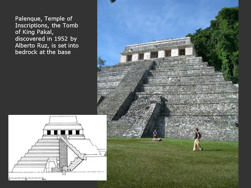 Palenque, Temple of Inscriptions, the Tomb of King Pakal, discovered in 1952 by Alberto Ruz, is set into bedrock at the base