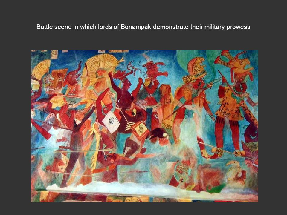 Battle scene in which lords of Bonampak demonstrate their military prowess