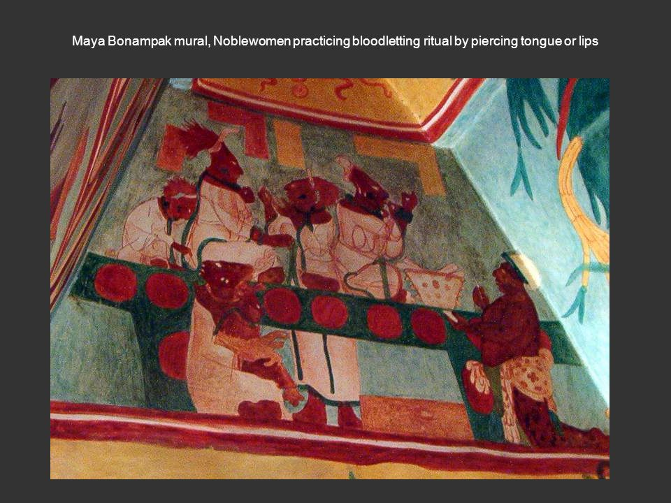 Maya Bonampak mural, Noblewomen practicing bloodletting ritual by piercing tongue or lips