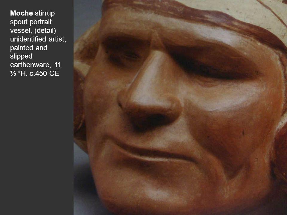 Moche stirrup spout portrait vessel, (detail) unidentified artist, painted and slipped