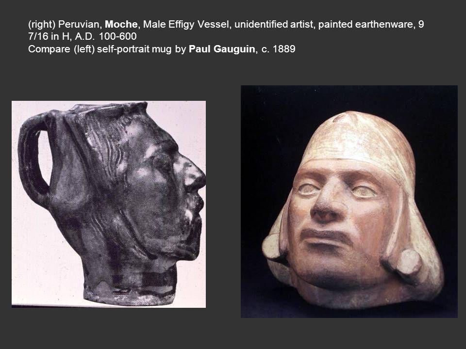 (right) Peruvian, Moche, Male Effigy Vessel, unidentified artist, painted earthenware, 9 7/16 in H, A.D.