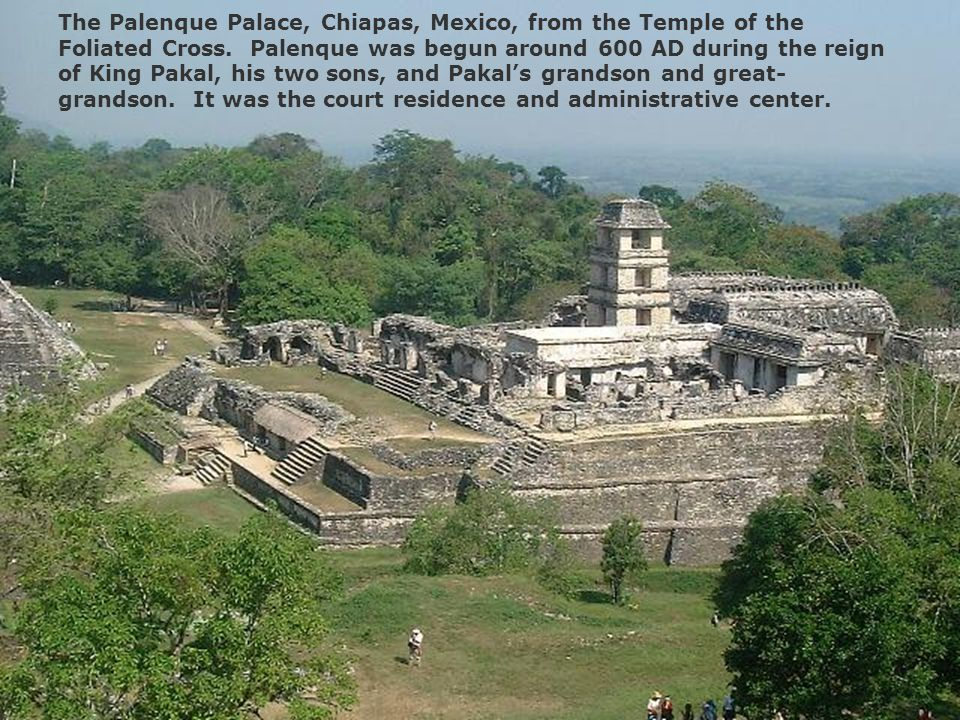 The Palenque Palace, Chiapas, Mexico, from the Temple of the Foliated Cross.