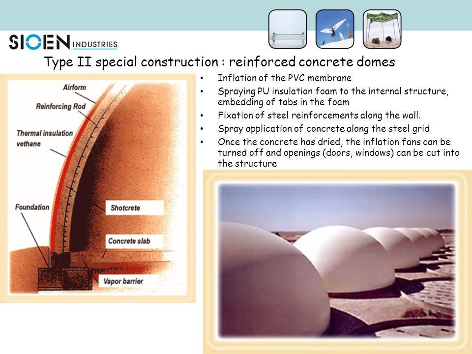 Type II special construction : reinforced concrete domes