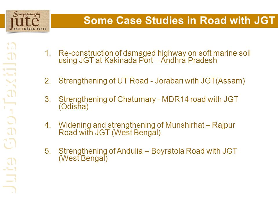 Some Case Studies in Road with JGT