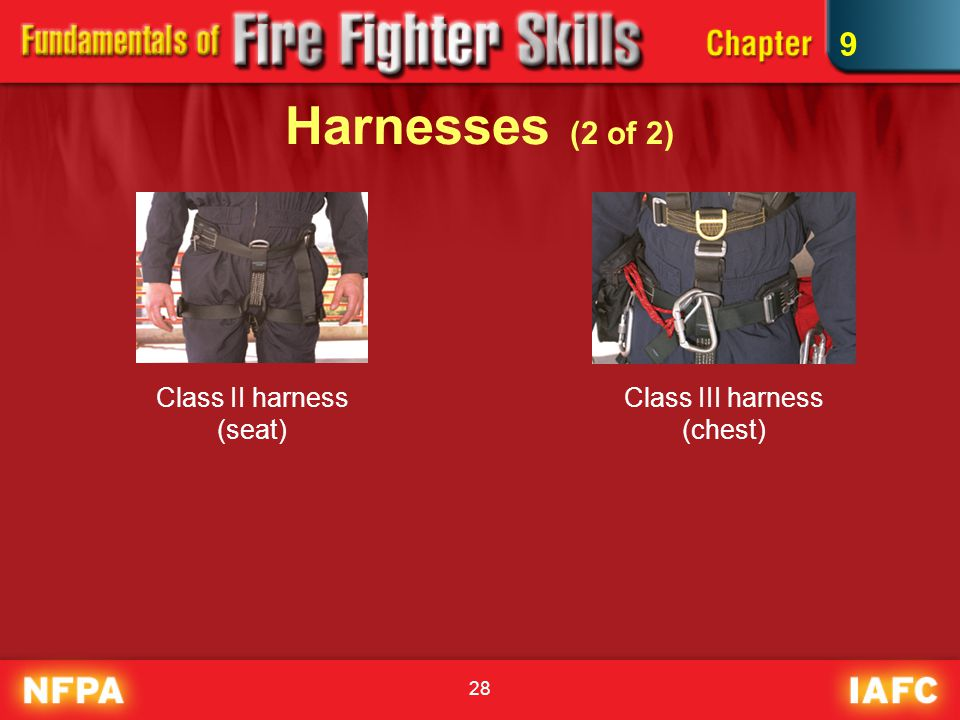 9 Harnesses (2 of 2) Class II harness (seat) Class III harness (chest)