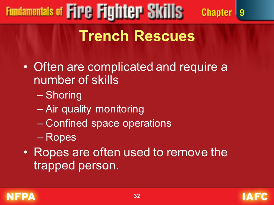 Trench Rescues Often are complicated and require a number of skills