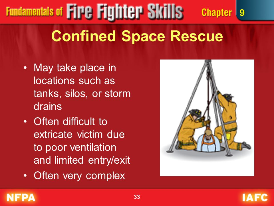 9 Confined Space Rescue. May take place in locations such as tanks, silos, or storm drains.