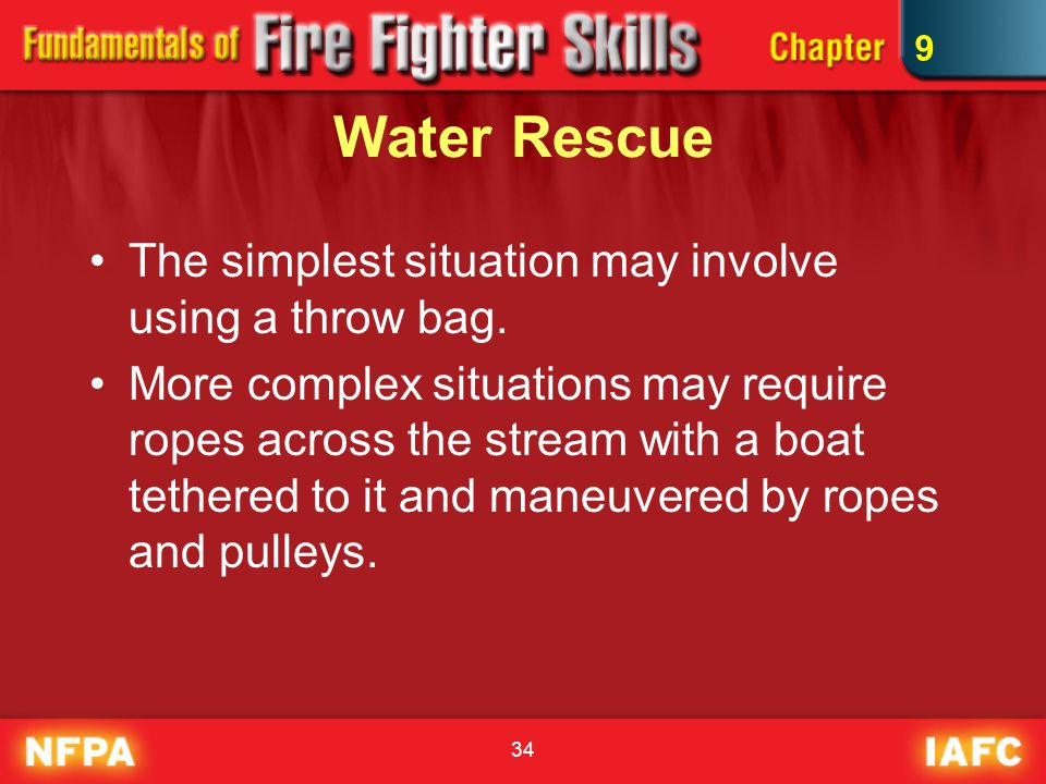 Water Rescue The simplest situation may involve using a throw bag.