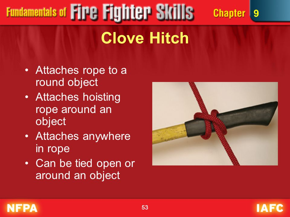 Clove Hitch Attaches rope to a round object