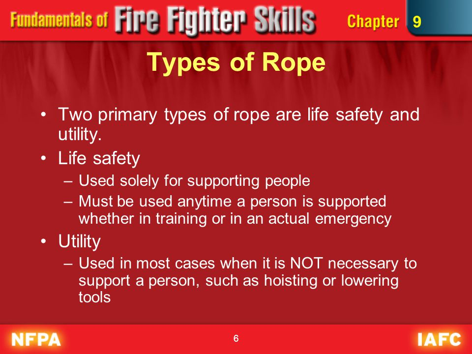 Types of Rope Two primary types of rope are life safety and utility.
