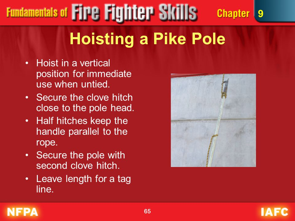 9 Hoisting a Pike Pole. Hoist in a vertical position for immediate use when untied. Secure the clove hitch close to the pole head.