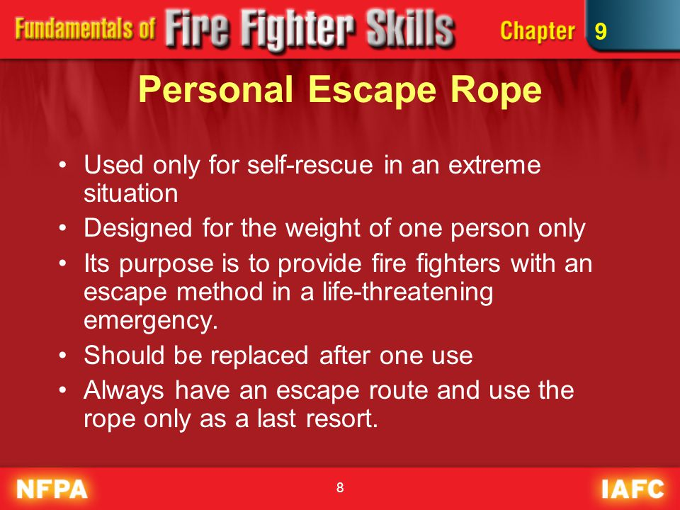 Personal Escape Rope Used only for self-rescue in an extreme situation