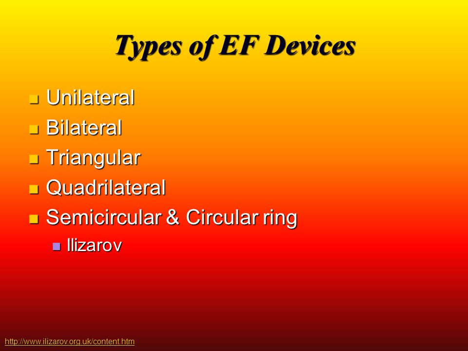 Types of EF Devices Unilateral Bilateral Triangular Quadrilateral