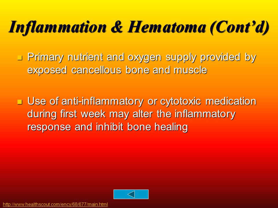 Inflammation & Hematoma (Cont'd)
