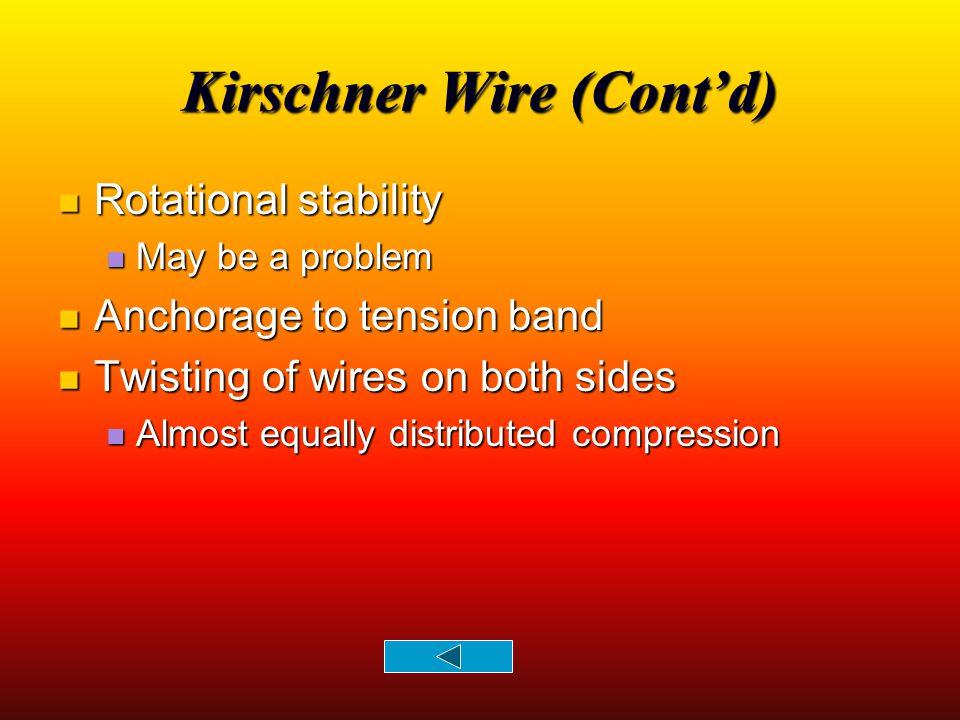 Kirschner Wire (Cont'd)
