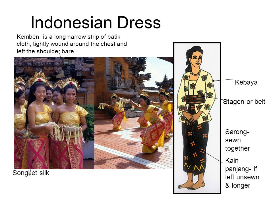 Indonesian Dress Kebaya Stagen or belt Sarong- sewn together