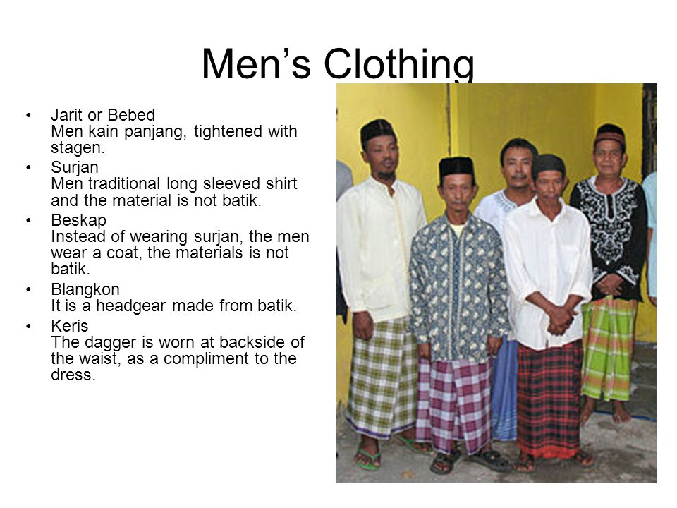 Men's Clothing Jarit or Bebed Men kain panjang, tightened with stagen.