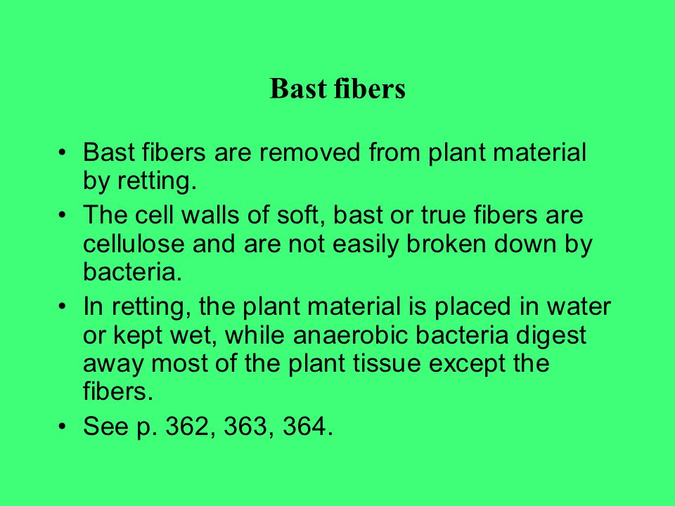 Bast fibers Bast fibers are removed from plant material by retting.